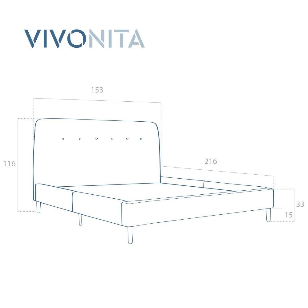 Pískově hnědá dvoulůžková postel s dřevěnými nohami Vivonita Mae, 140 x 200 cm