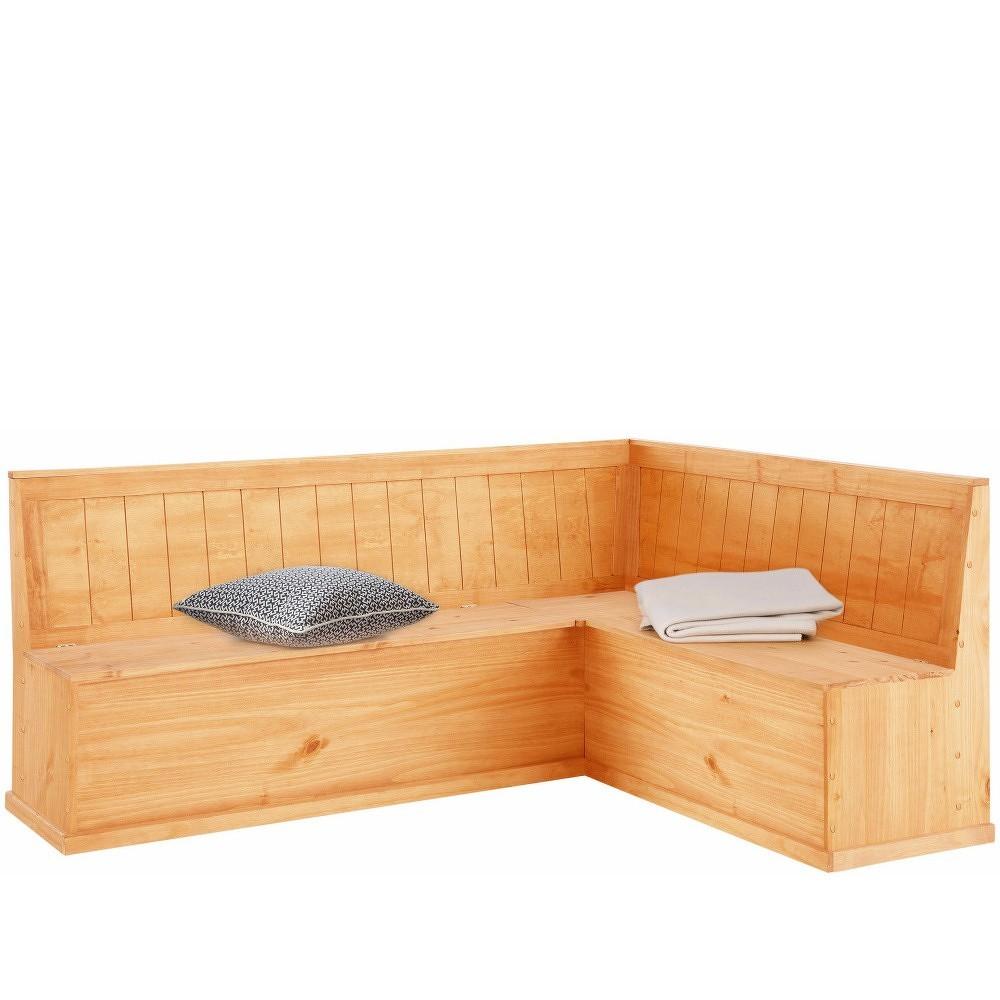 Rohová lavice z borovicového dřeva s úložným prostorem Støraa Silas