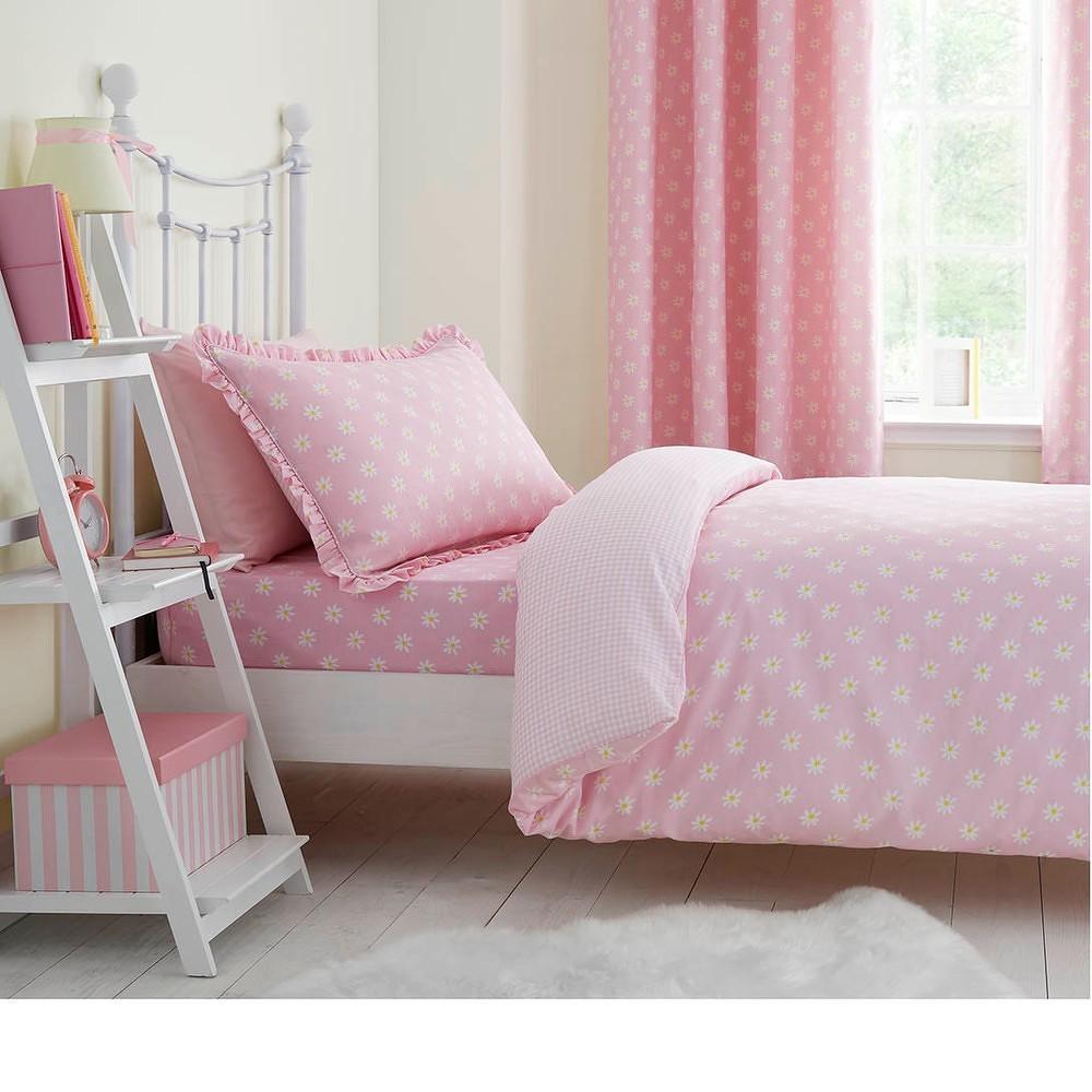 Růžové elastické prostěradlo na jednolůžko Catherine Lansfield Daisy Dreamer, 90 x 90 cm