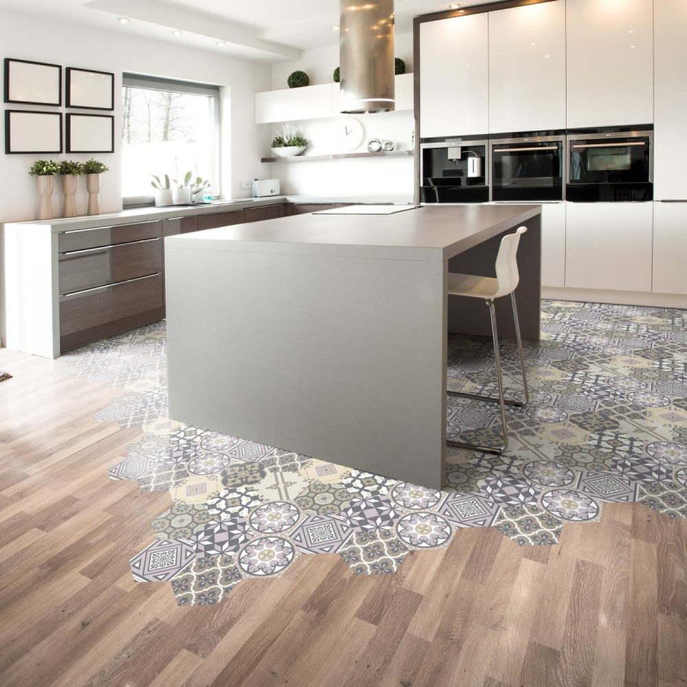 Sada 10 samolepek na podlahu Ambiance Floor Stickers Hexagons Vita, 40 x 90 cm