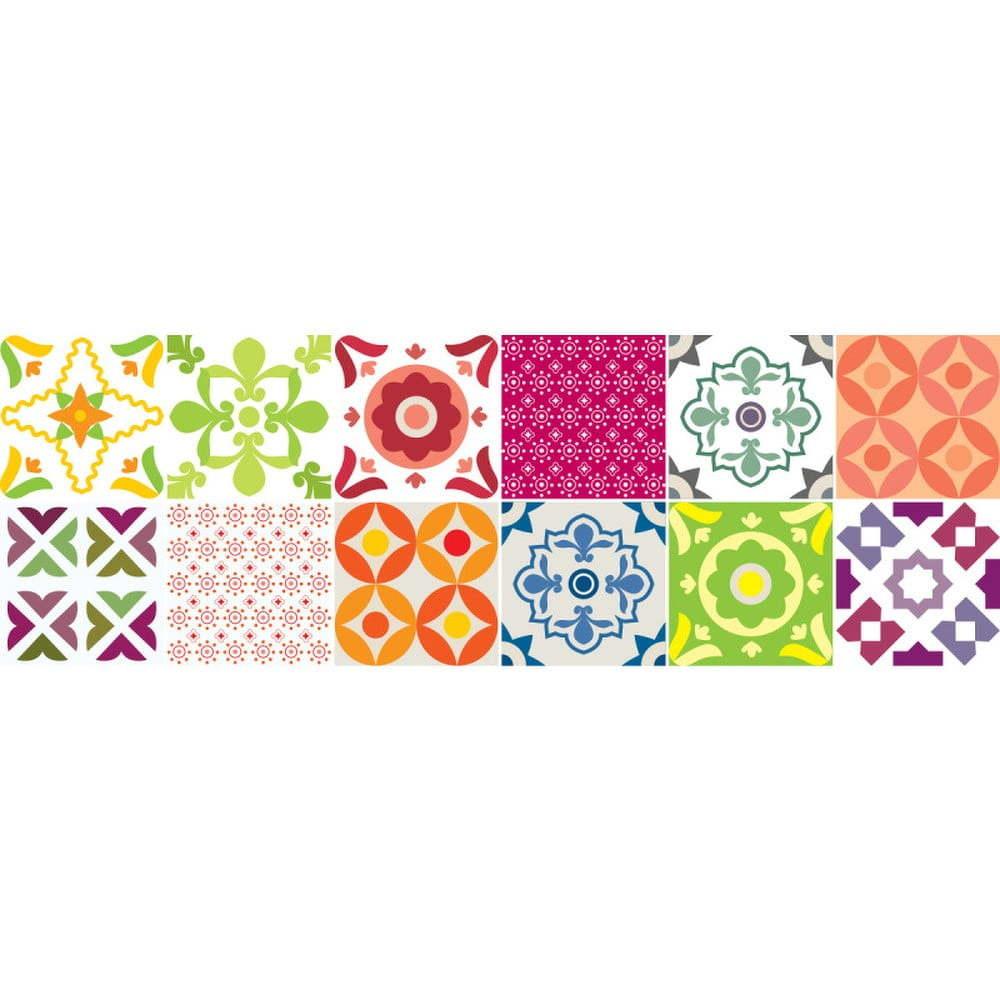 Sada 12 nástěnných samolepek Ambiance Wall Decals Elegant Tiles, 10 x 10 cm