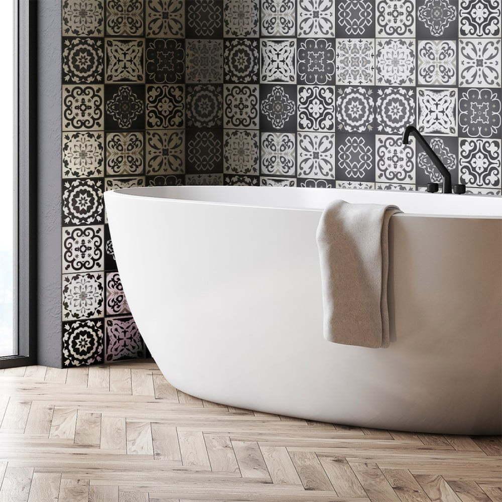 Sada 12 nástěnných samolepek Ambiance Wall Decals Tiles Gray Cement Rimini, 15 x 15 cm