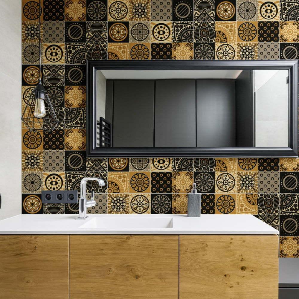 Sada 15 nástěnných samolepek Ambiance Wall Decals Azulejos Tiles San Juan, 15 x 15 cm