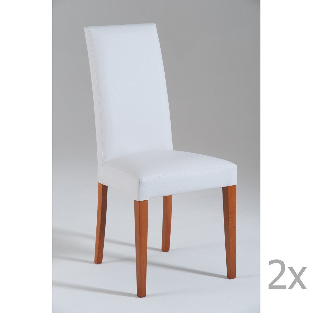 Sada 2 bílých jídelních židlí s hnědými nohami Castagnetti Tempi