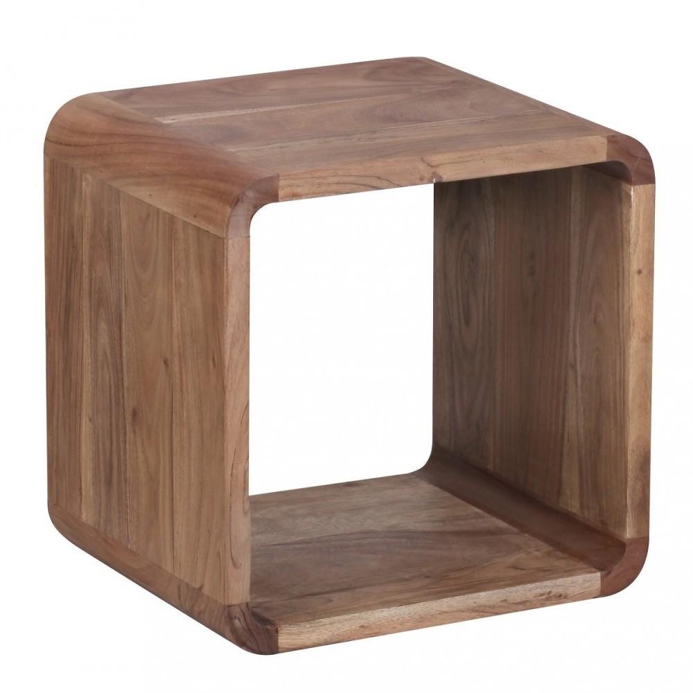 Sada 2 hnědých odkládacích stolků z masivního akáciového dřeva Skyport BOHA, 43 x 43 cm