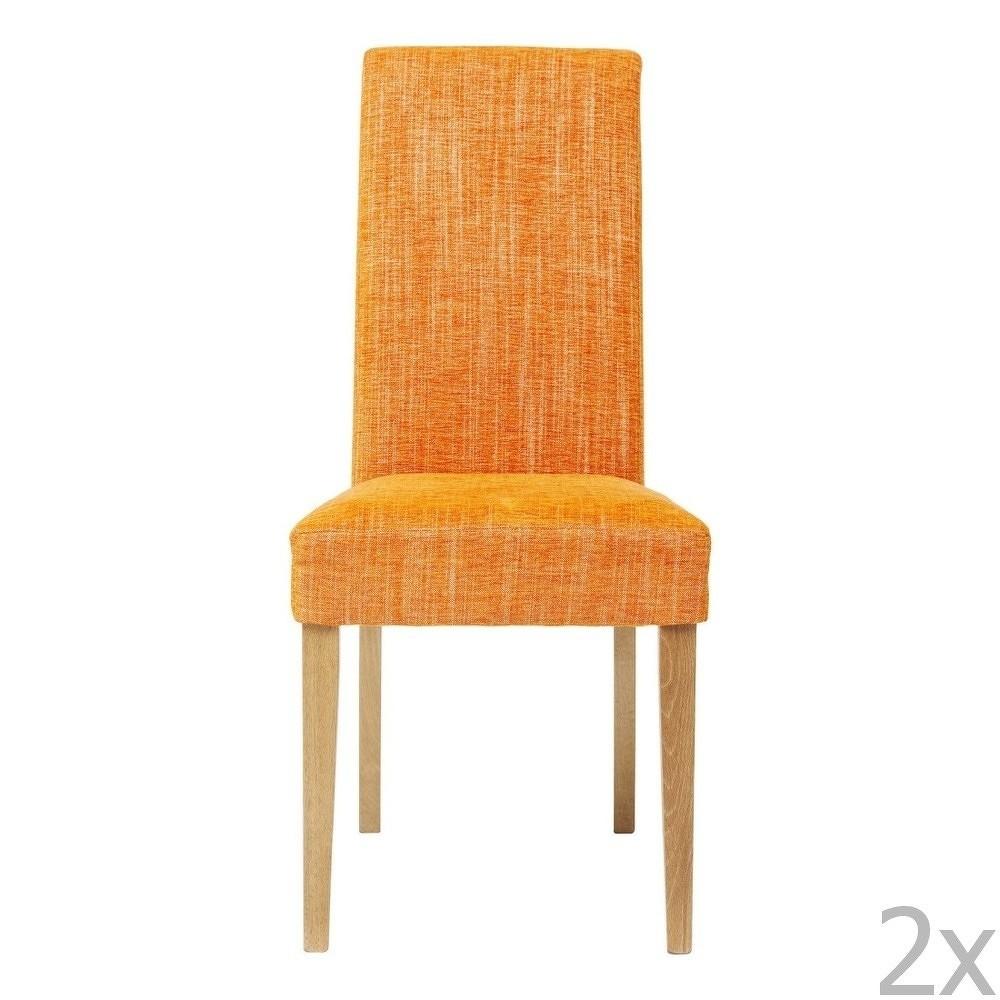 Sada 2 oranžových jídelních židlí s podnožím z bukového dřeva Kare Design Salty