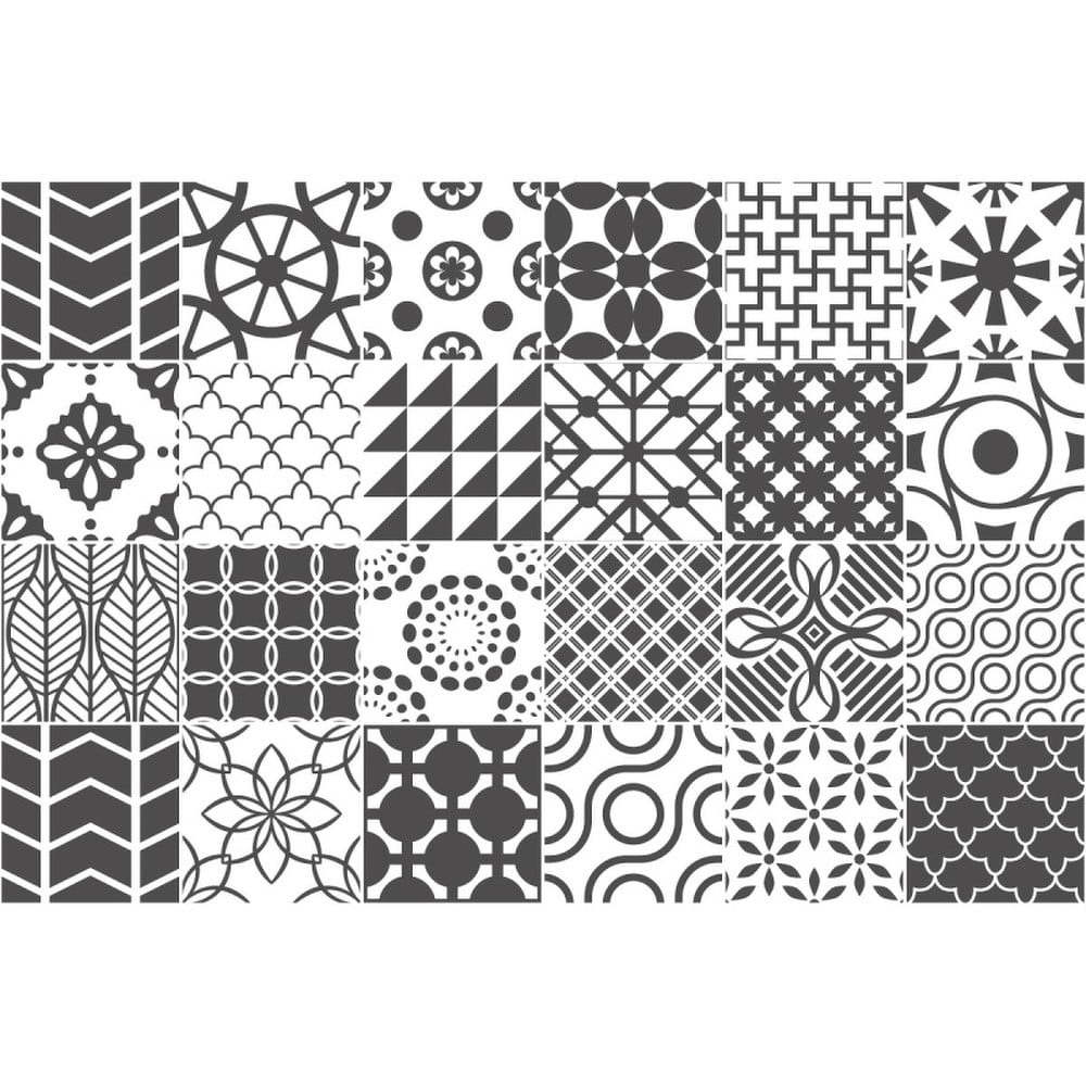 Sada 24 nástěnných samolepek Ambiance Wall Decal Cement Tile Gray Lindos, 10 x 10 cm