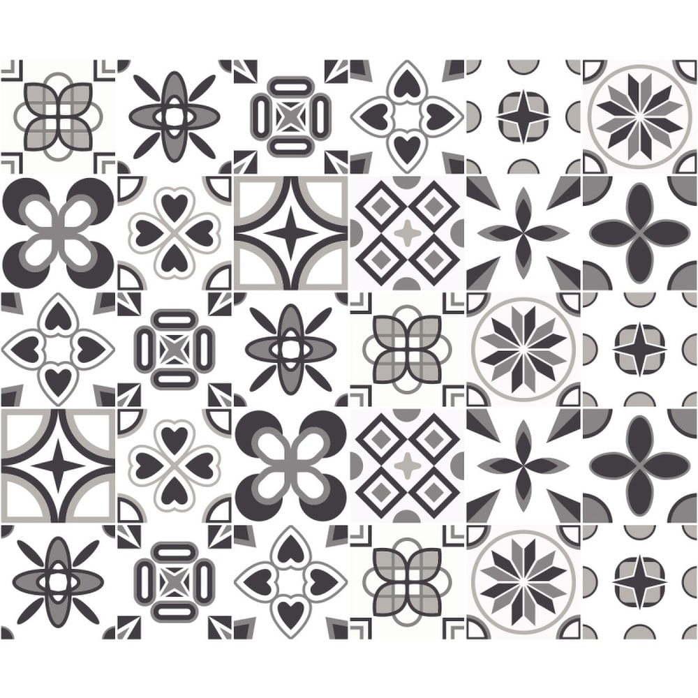 Sada 24 nástěnných samolepek Ambiance Wall Decal Cement Tiles Azulejos Erico, 15 x 15 cm