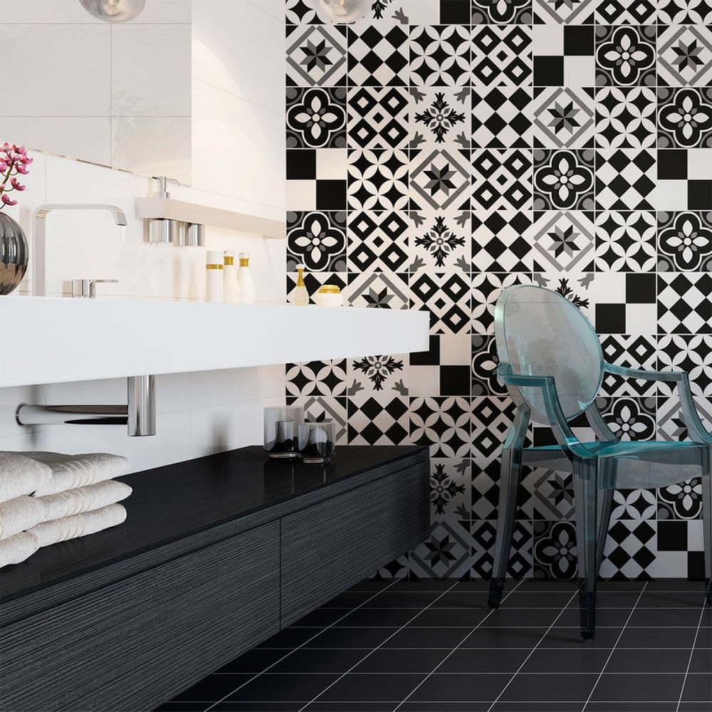 Sada 24 nástěnných samolepek Ambiance Wall Decal Cement Tiles Azulejos Yanga, 15 x 15 cm