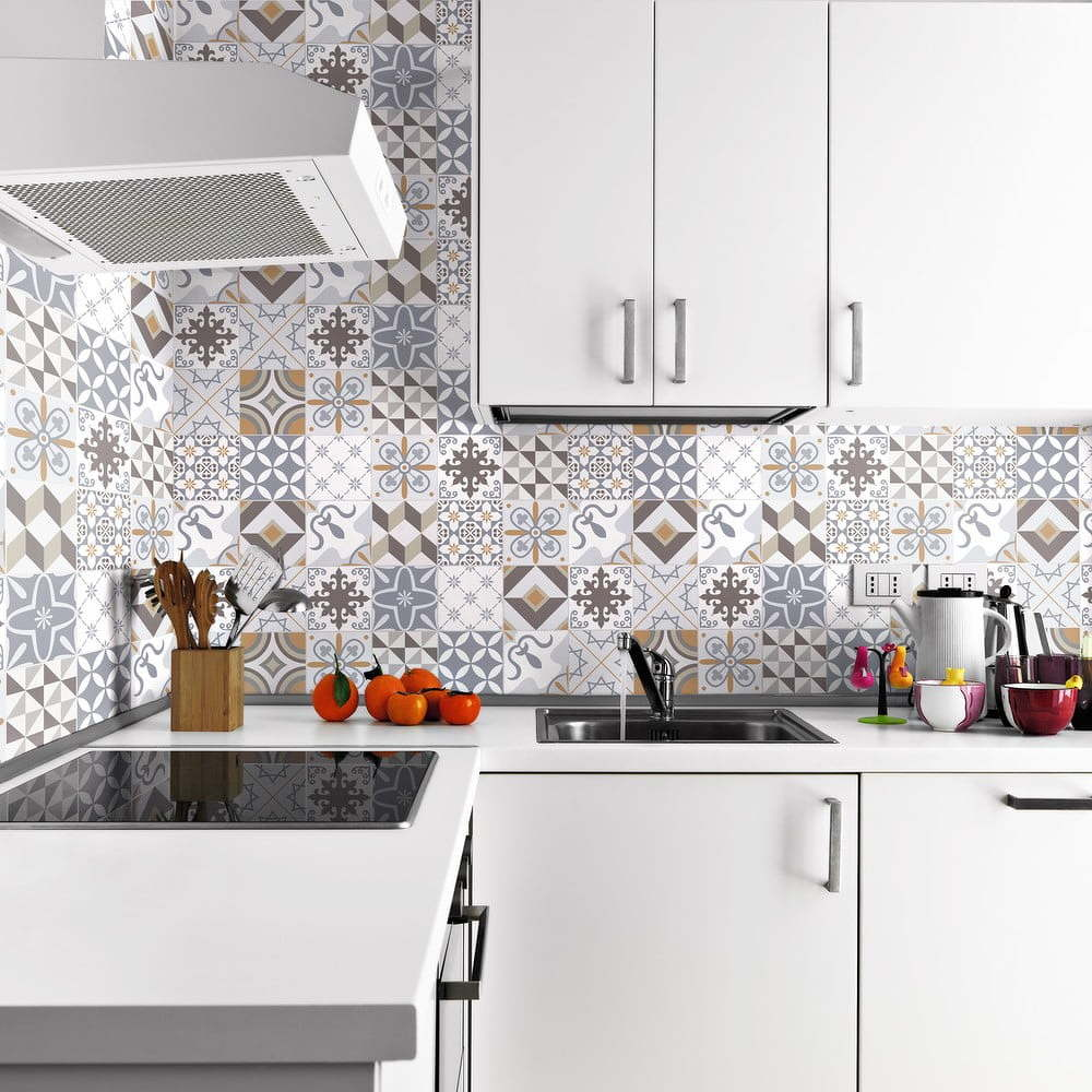 Sada 24 nástěnných samolepek Ambiance Wall Decals Traditional Beige Tiles, 20 x 20 cm