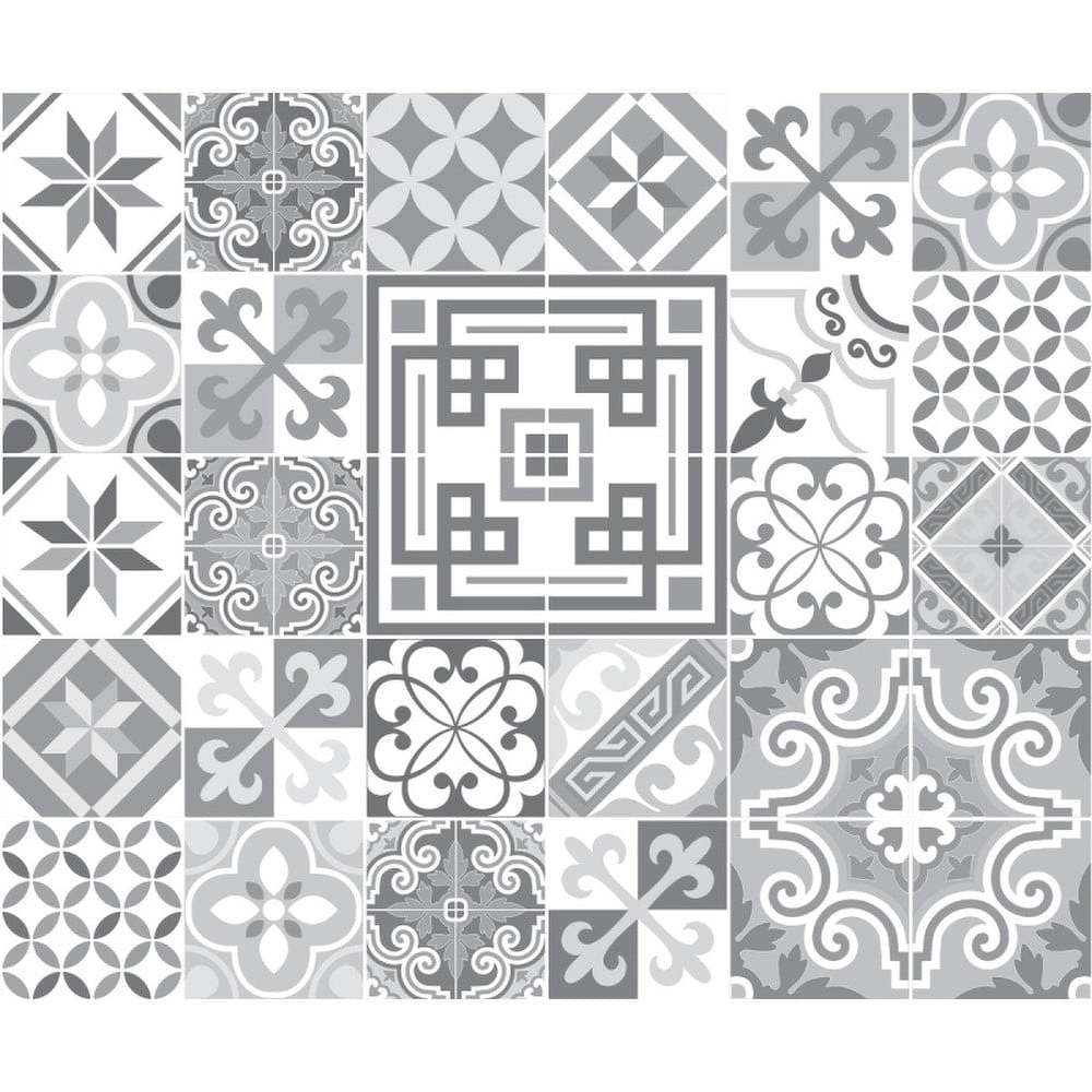 Sada 30 nástěnných samolepek Ambiance Wall Stickers Cement Tiles Azulejos Marco, 10 x 10 cm