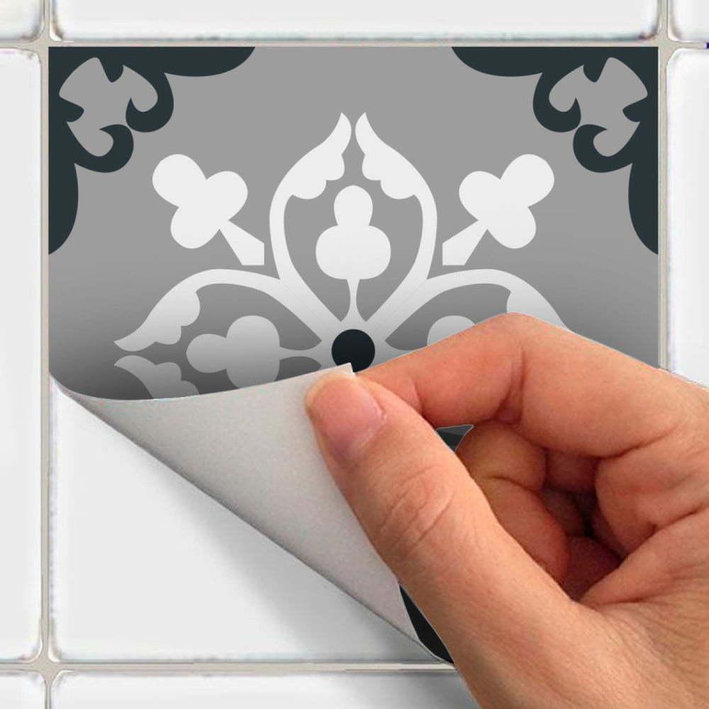 Sada 30 nástěnných samolepek Ambiance Wall Stickers Cement Tiles Azulejos Rocito, 10 x 10 cm