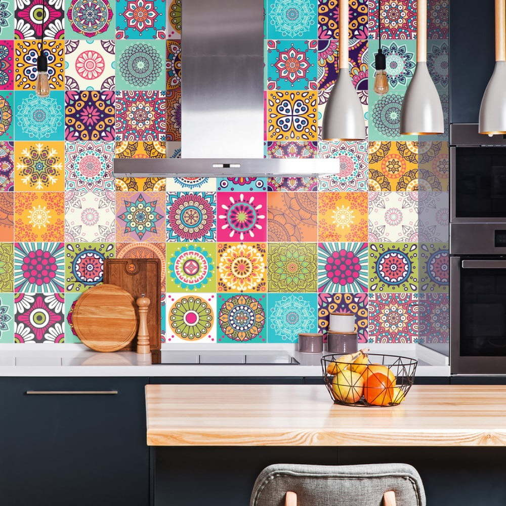 Sada 30 nástěnných samolepek Ambiance Wall Stickers Tiles Azulejos Mariska, 15 x 15 cm