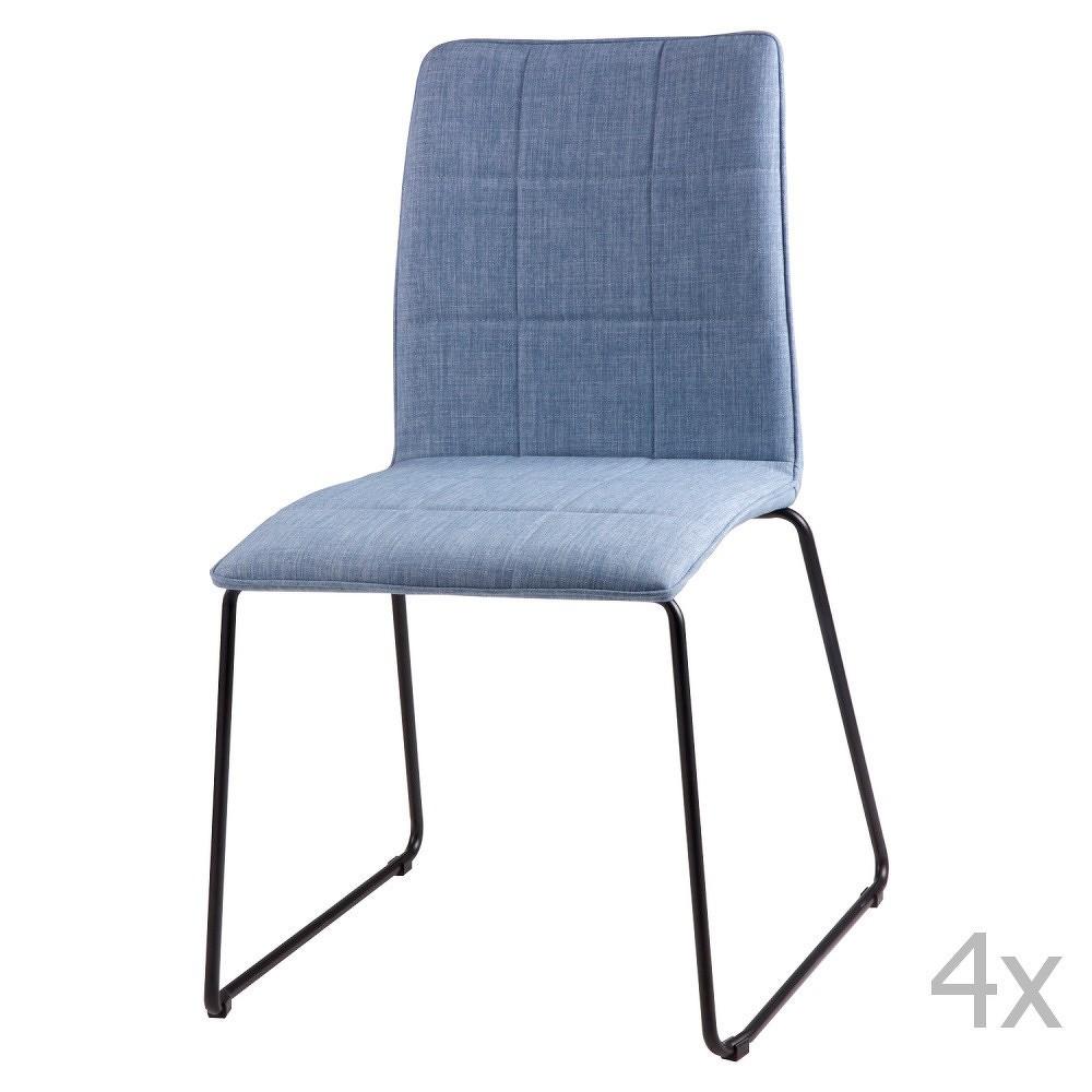 Sada 4 světle modrých jídelních židlí sømcasa Malina