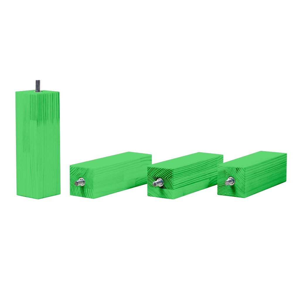 Sada 4 zelených prodloužených nohou z borovicového dřeva k posteli Benlemi,výška20cm