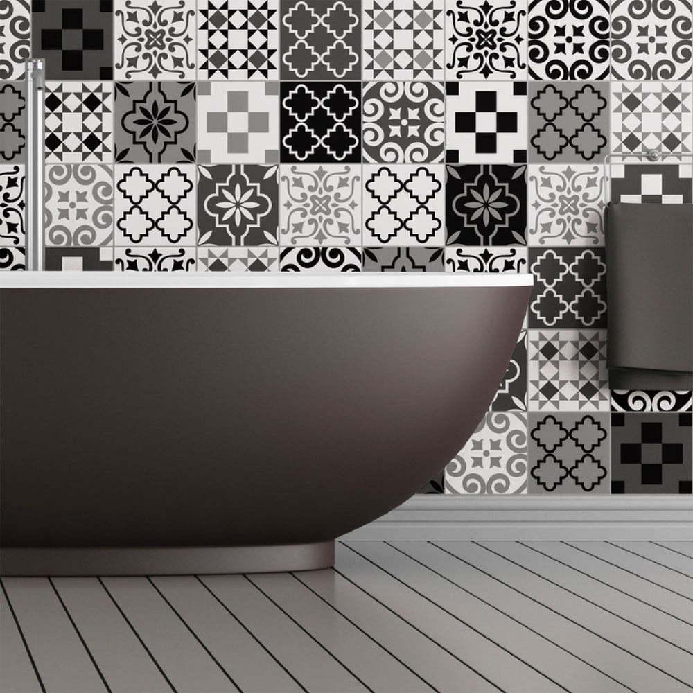 Sada 60 nástěnných samolepek Ambiance Wall Decal Cement Tiles Azulejos Pedro, 15 x 15 cm