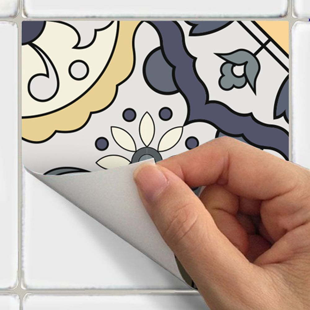 Sada 60 nástěnných samolepek Ambiance Wall Decal Cement Tiles Milonga, 15 x 15 cm