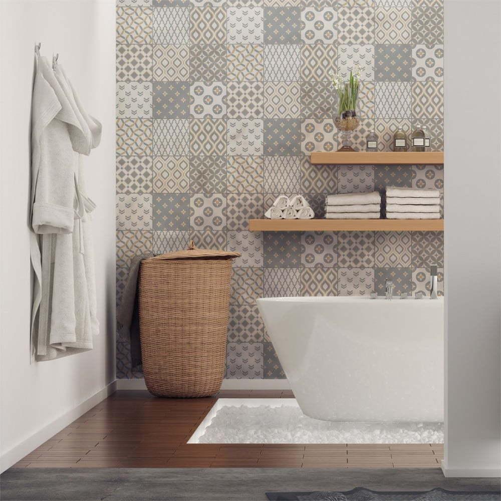 Sada 9 nástěnných samolepek Ambiance Wall Decal Scandinavian Cement Tile Samtida, 10 x 10 cm
