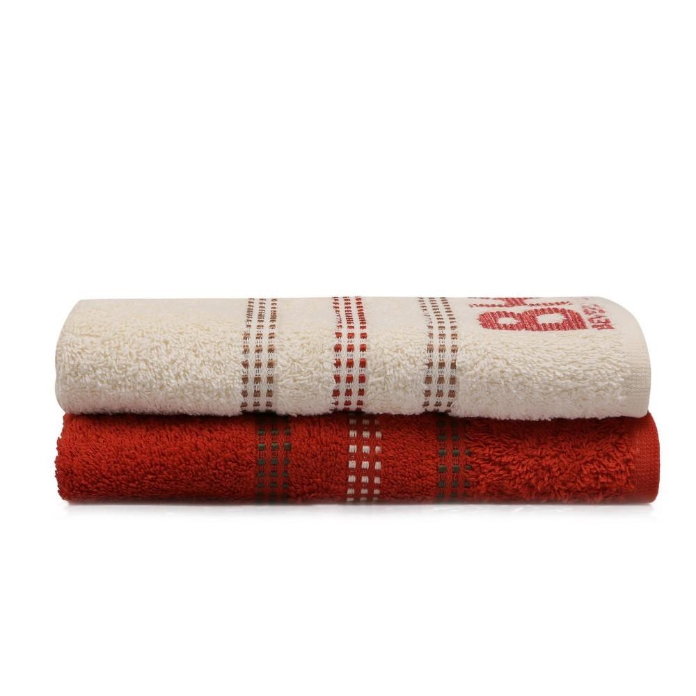 Sada cihlově červeného a krémového ručníku Beverly Hills Polo Club Stripes, 90x50cm