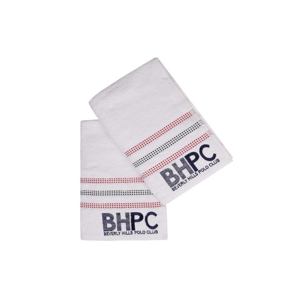 Sada dvou bílých osušek Beverly Hills Polo Club Stripes, 140x70cm