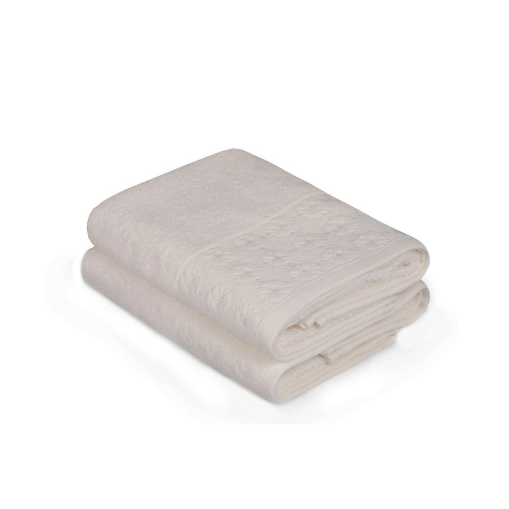 Sada dvou bílých ručníků Provence, 90x50cm
