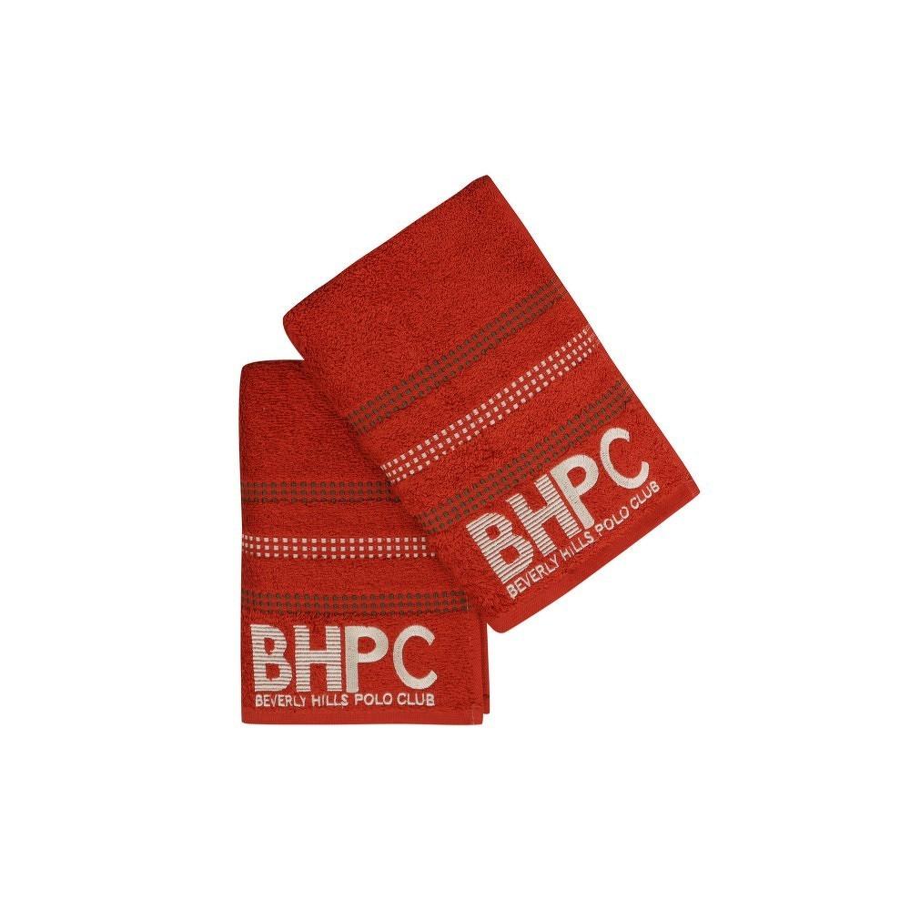 Sada dvou cihlově červených ručníků Beverly Hills Polo Club, 90x50cm