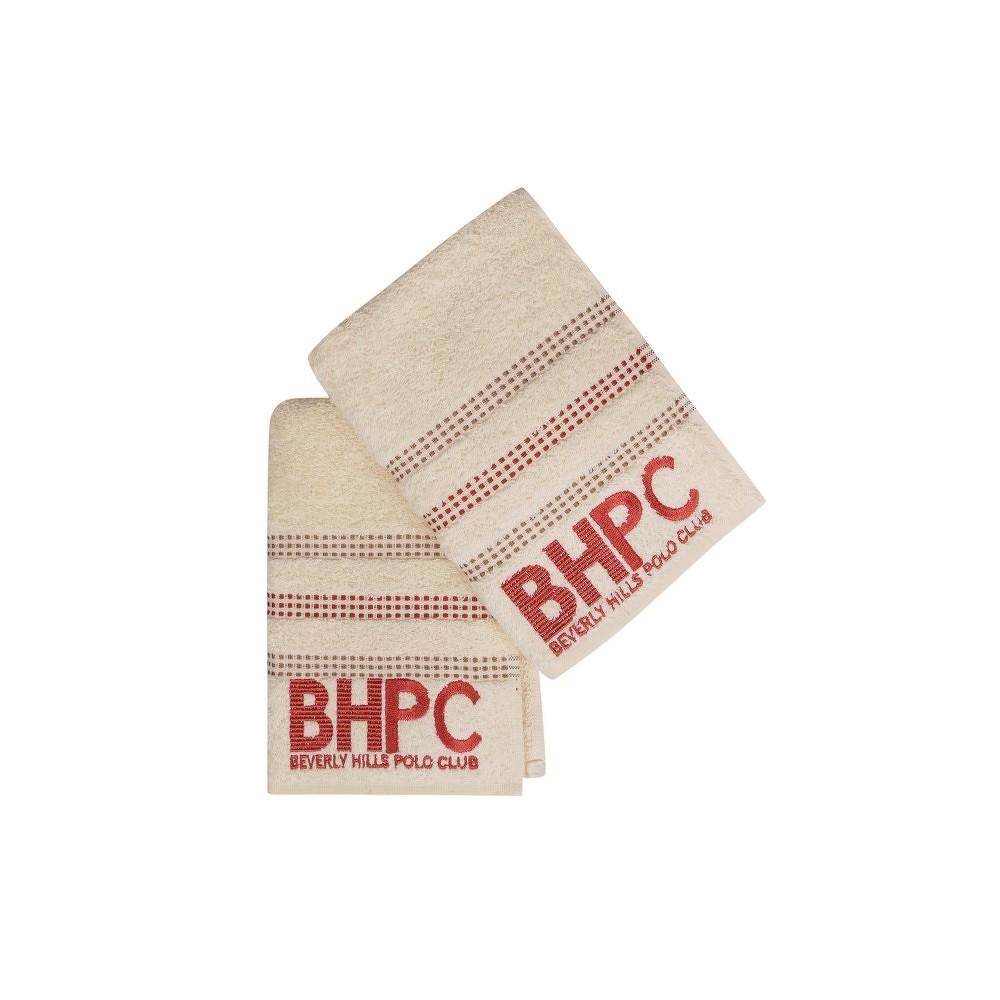 Sada dvou ručníků v krémové barvě Beverly Hills Polo Club Stripes, 90x50 cm