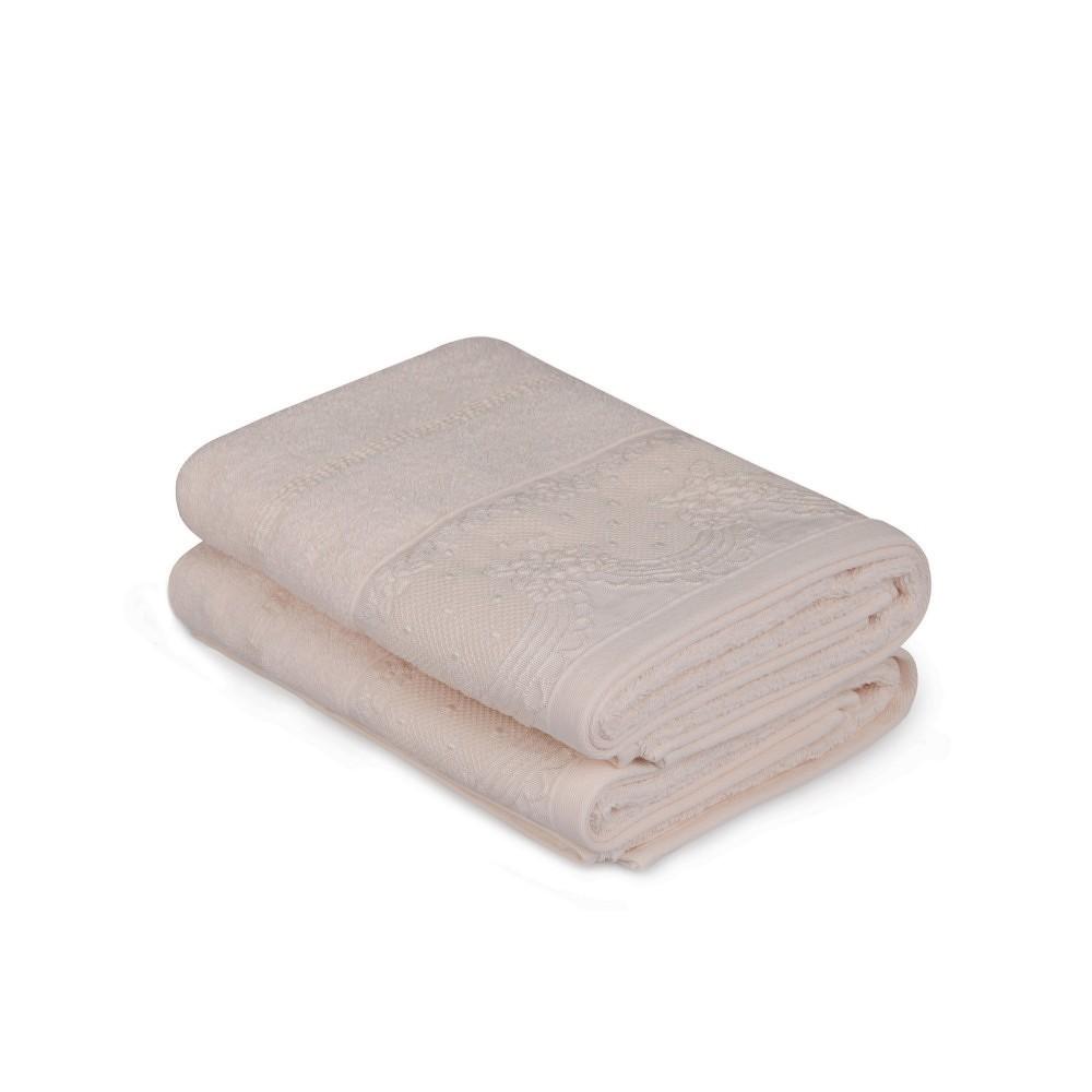 Sada dvou ručníků v lososové barvě Baroque, 90x50cm