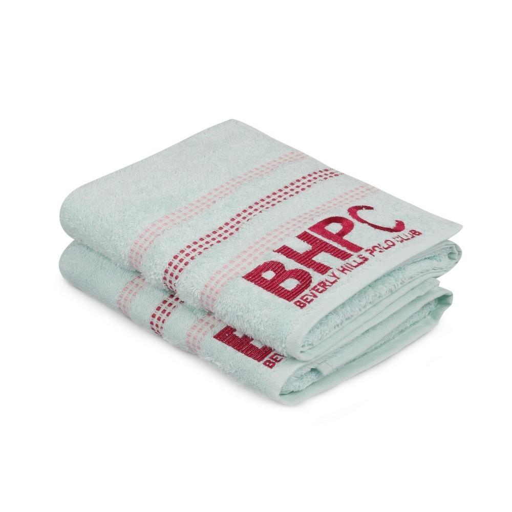 Sada dvou ručníků v mátově zelené barvě Beverly Hills Polo Club Stripes, 90x50 cm