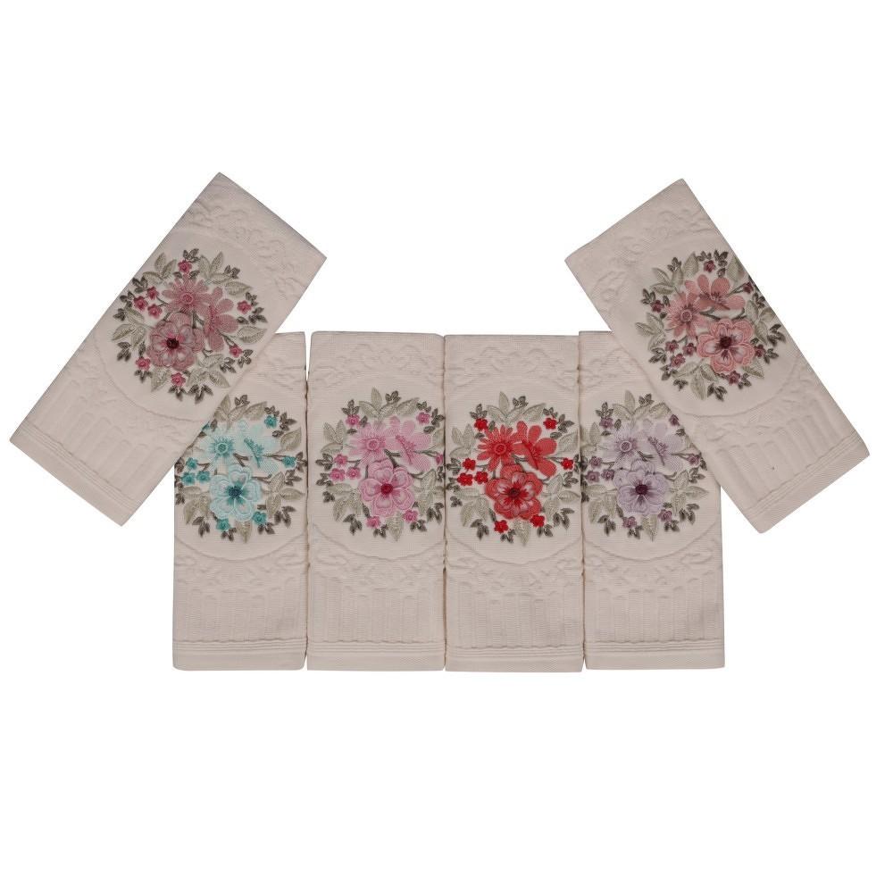 Sada šesti ručníků s květinovou výšivkou Fleures, 50x 30cm