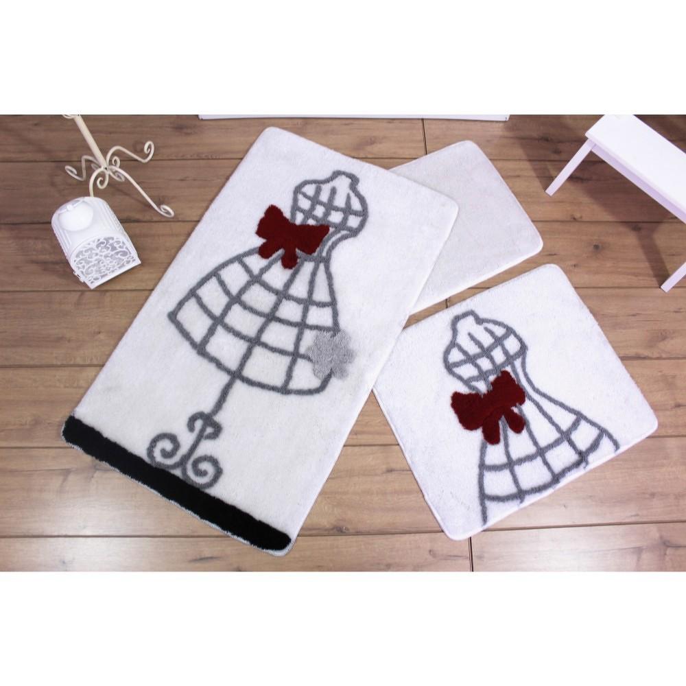Sada tří bílých koupelnových předložek s motivem šatů Knit Knot
