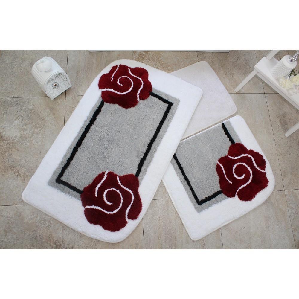 Sada tří koupelnových předložek s motivem květu v šedo-červené barvě Knit Knot