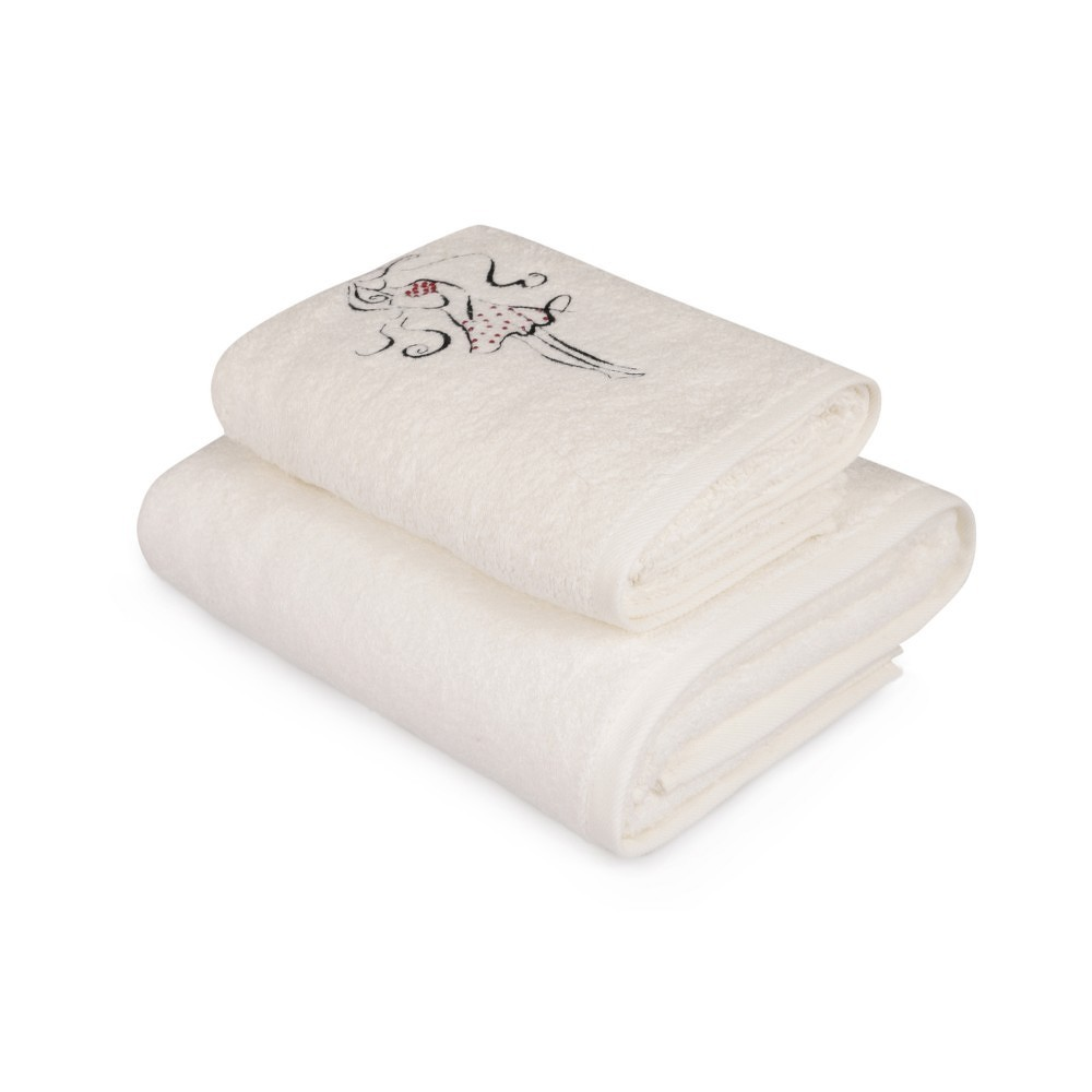 Set bílého ručníku a bílé osušky s barevným detailem Belle