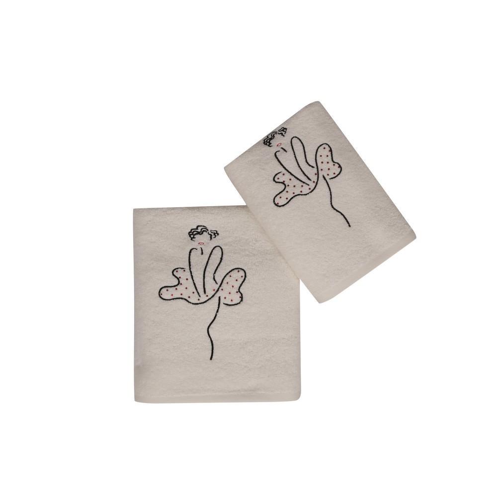Set bílého ručníku a bílé osušky s barevným detailem Femme