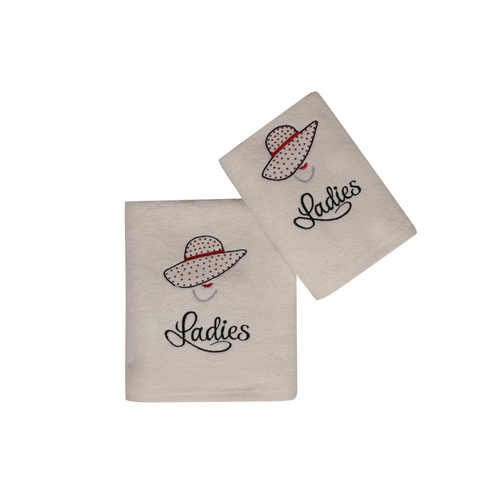 Set bílého ručníku a bílé osušky s barevným detailem Ladies