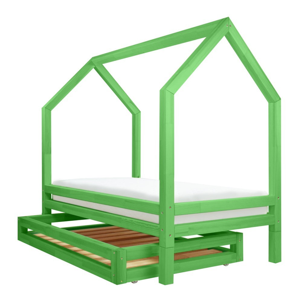 Set zelené zásuvky a 4 přídavných nohou k posteli Benlemi Funny, 90x180cm