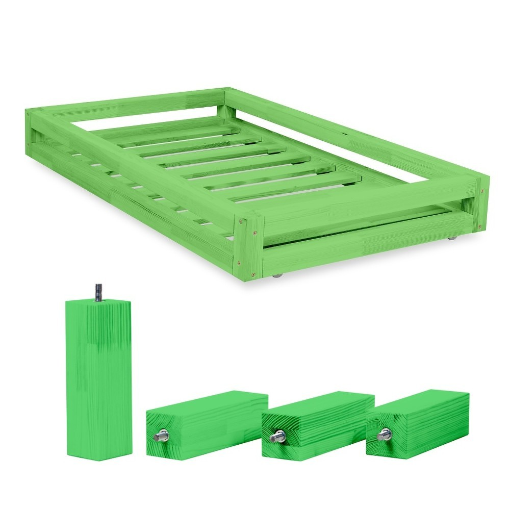 Set zelené zásuvky pod postel a 4 prodloužených nohou Benlemi,propostel120x200cm