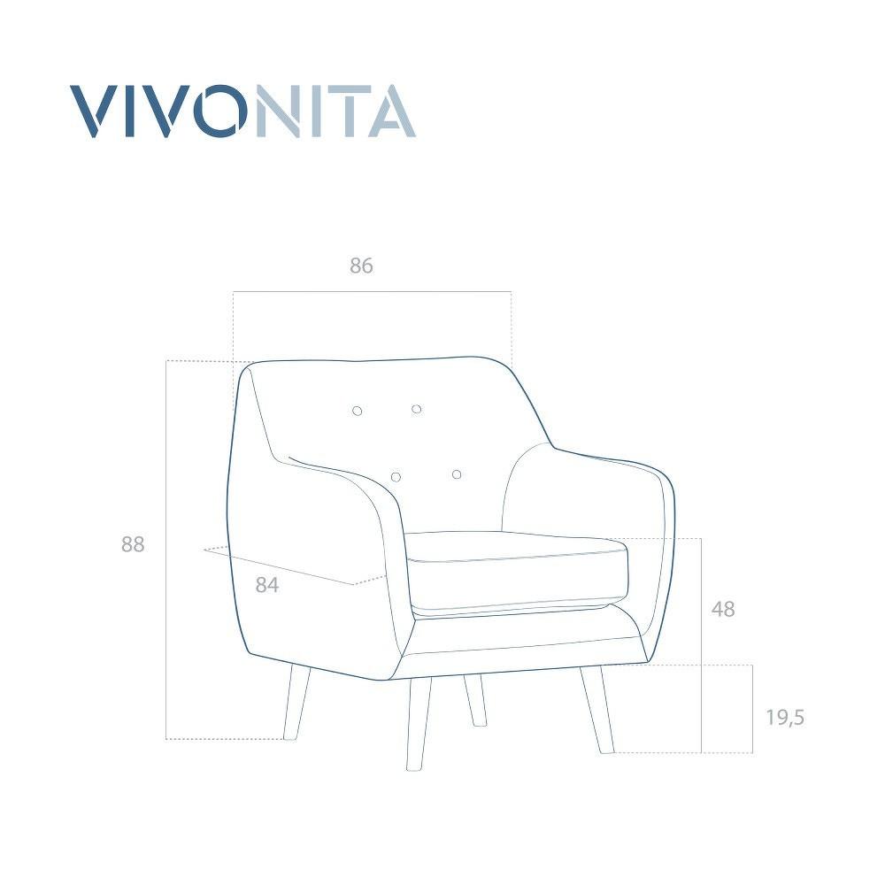 Světle šedé křeslo s tmavými nohami Vivonita Lila