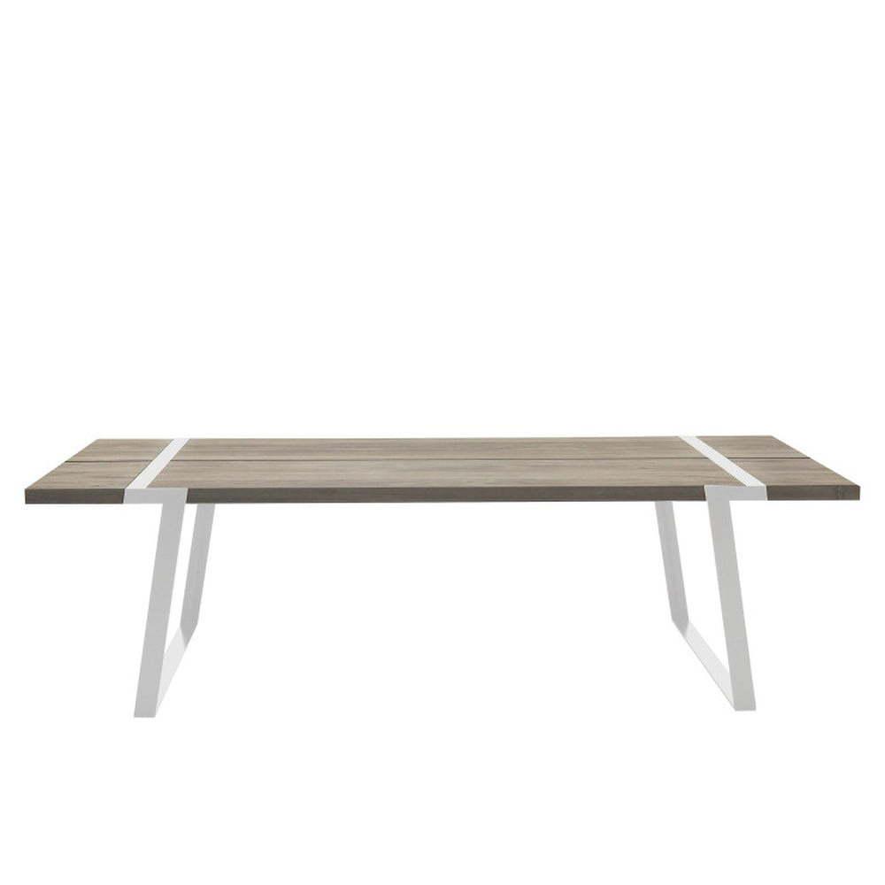 Světlý dřevěný jídelní stůl s bílým podnožím Canett Gigant, 240cm