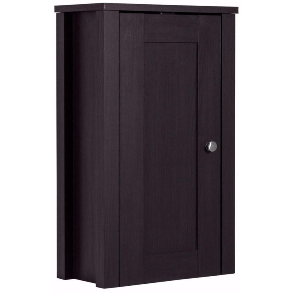 Tmavě hnědá dřevěná závěsná skříňka Støraa Jenny