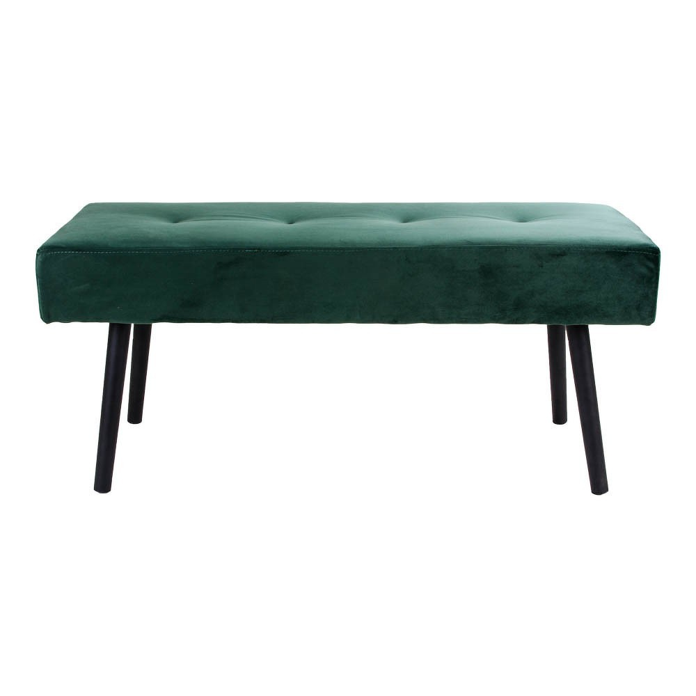 Tmavě zelená polstrovaná lavice se sametovým potahem House Nordic Skiby, 100x35cm