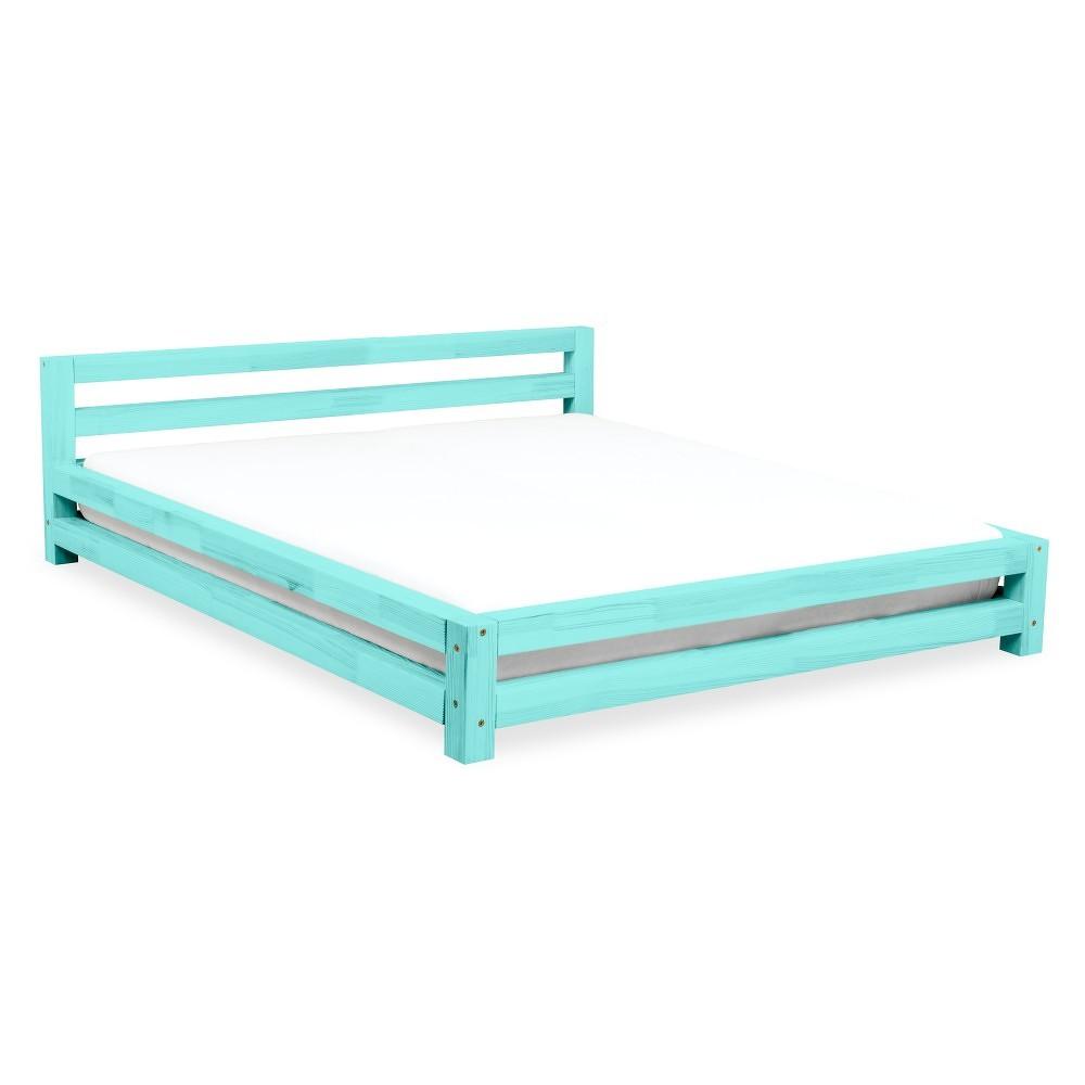 Tyrkysová dvoulůžková postel z borovicového dřeva Benlemi Double,160x200cm