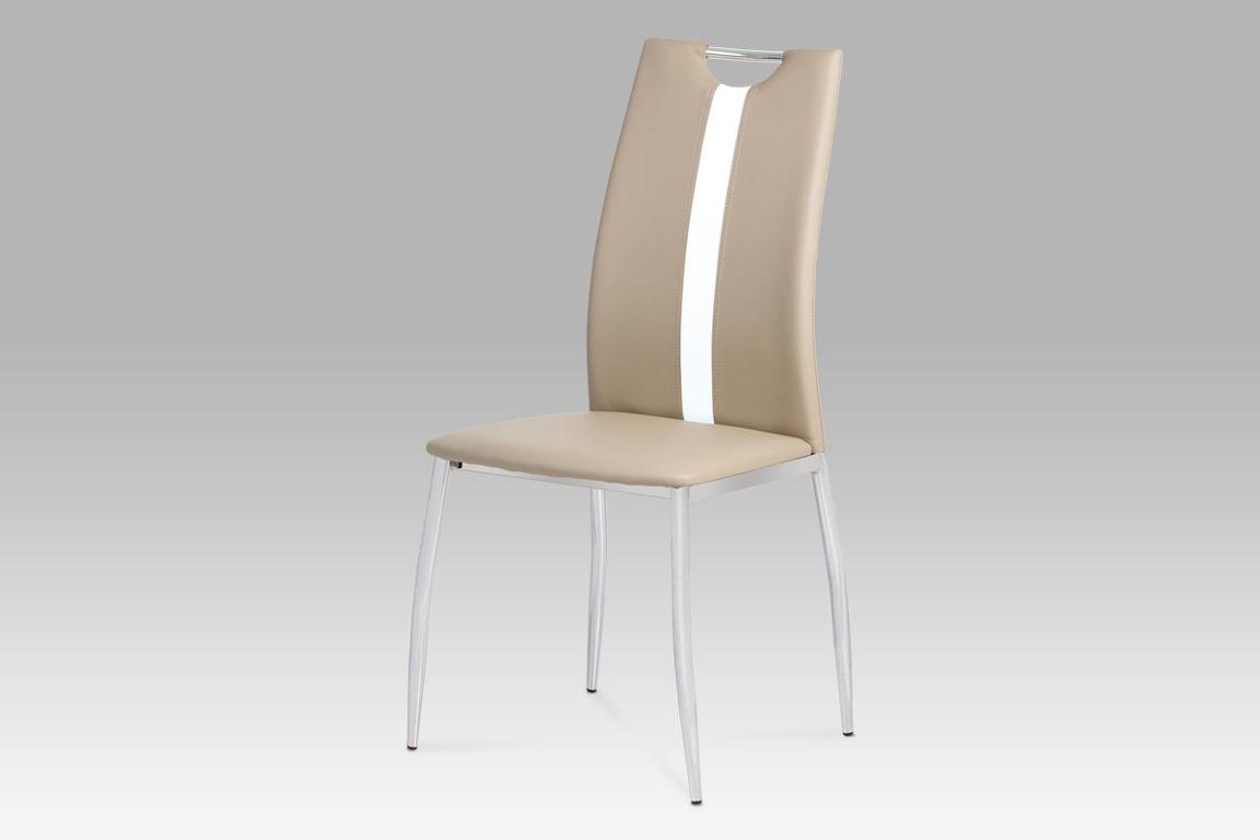 Autronic Jídelní židle, koženka cappuccino / chrom, AC-1296 CAP