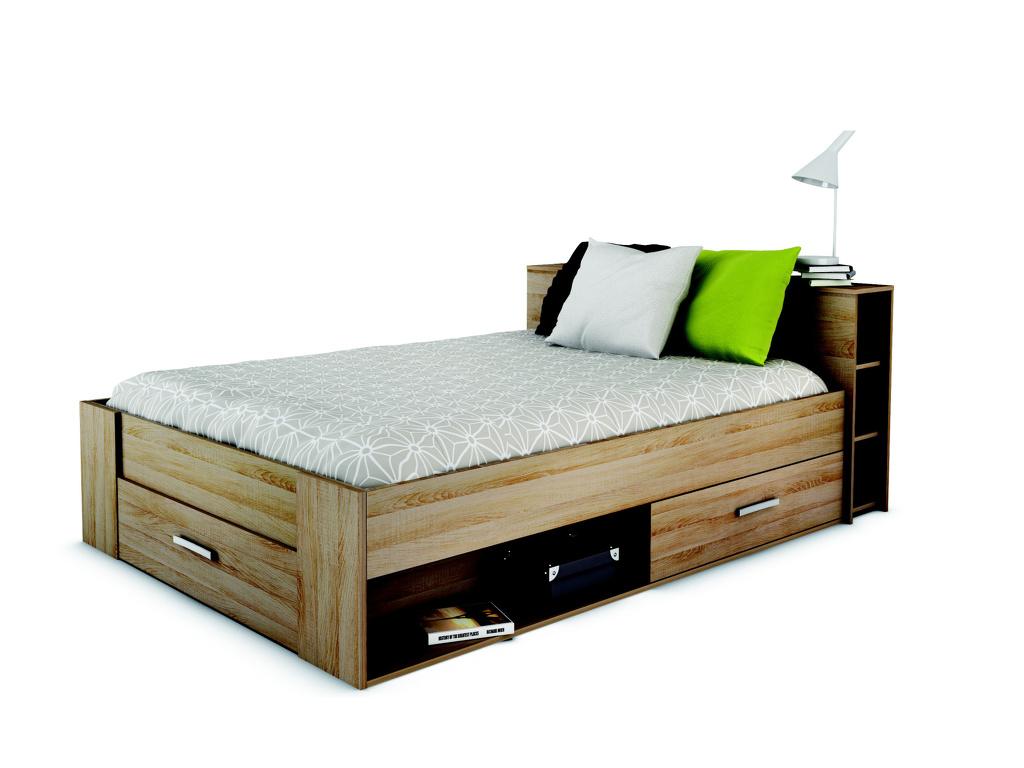 DEMEYERE POKET, postel 140x190 cm, dub sonoma
