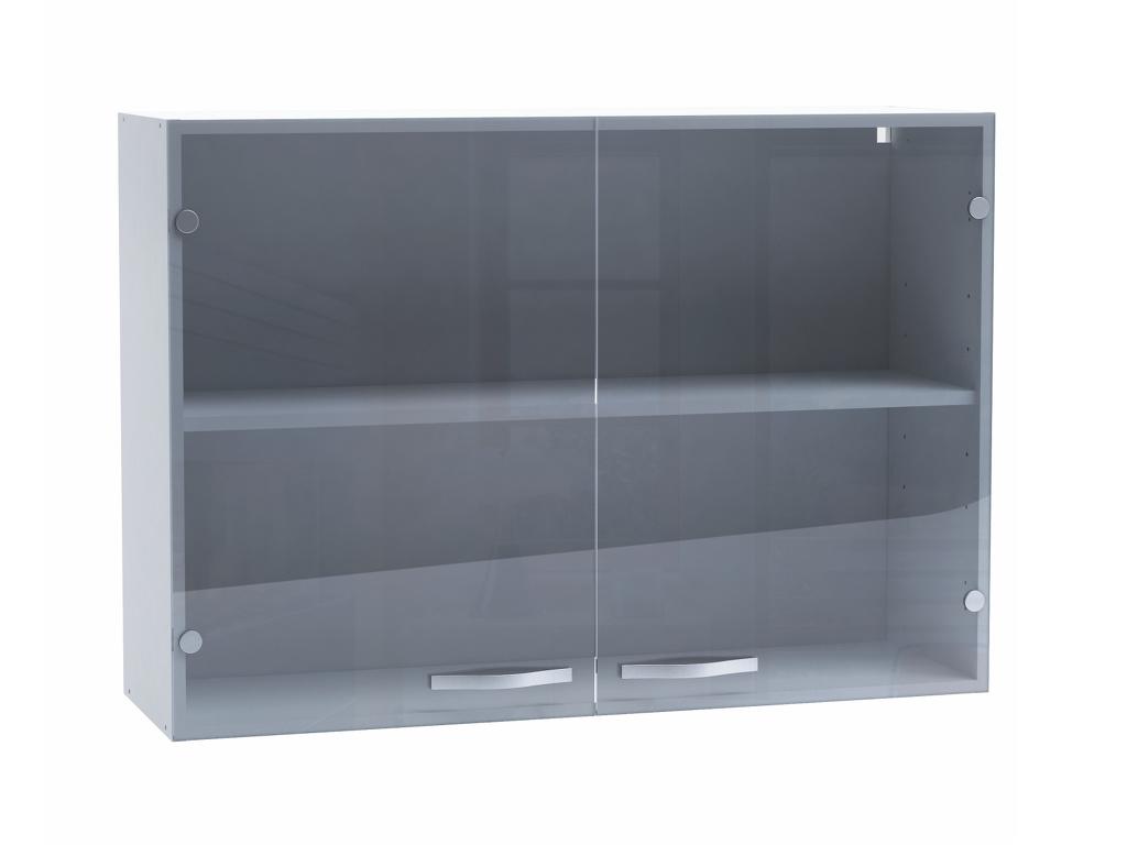 DEMEYERE SPACY, skříňka horní 100 cm, bílá/sklo