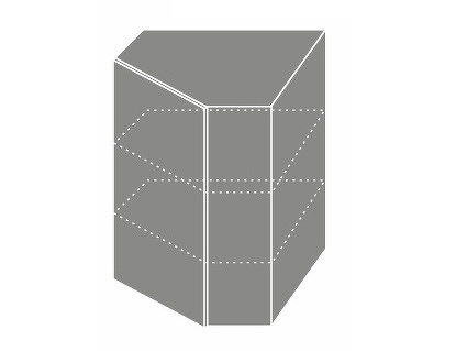 Extom QUANTUM, skříňka horní rohová W 10, vanilla mat/grey