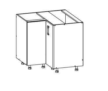 FIORE dolní rohová skříňka DNW 90/82, korpus congo, dvířka bílá supermat