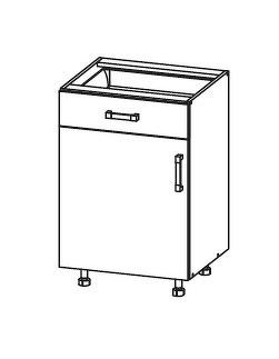 FIORE dolní skříňka D1S 50 SAMBOX, korpus congo, dvířka bílá supermat