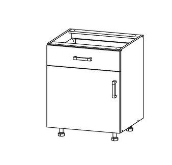 FIORE dolní skříňka D1S 60 SAMBOX, korpus ořech guarneri, dvířka bílá supermat
