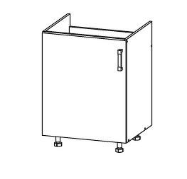 FIORE dolní skříňka DK60 pod dřez, korpus ořech guarneri, dvířka bílá supermat